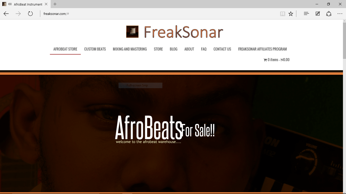 freaksonar Afrobeat Instrumental Store desktop screen