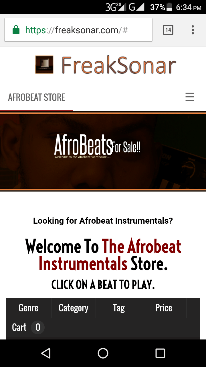 freaksonar Afrobeat Instrumental Store mobile screen