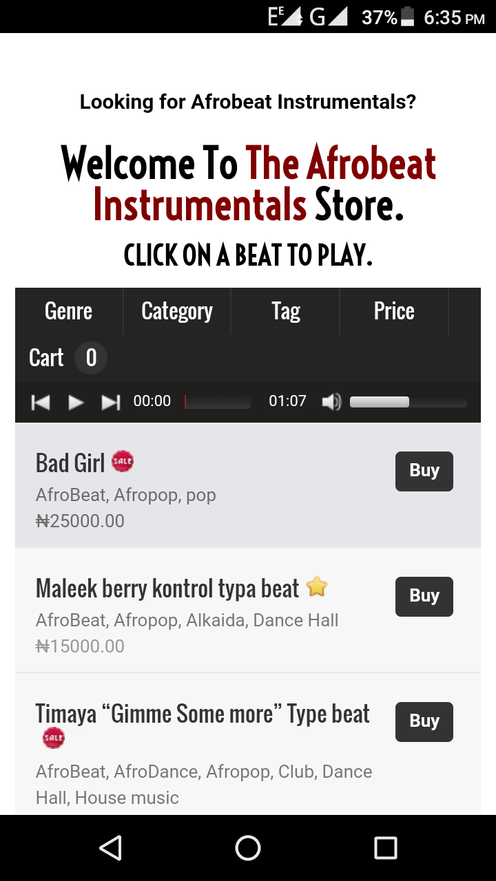freaksonar Afrobeat Instrumental Store mobile beat store screen